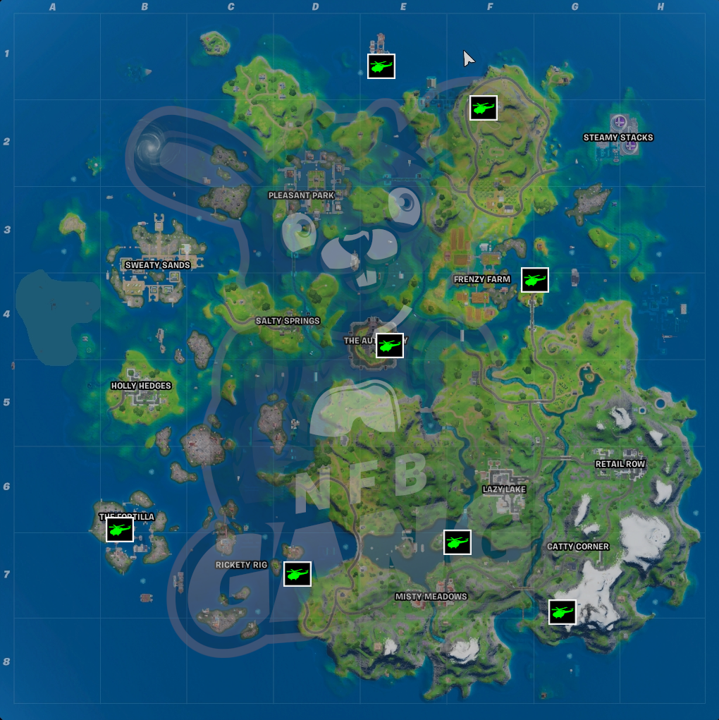 fortnite helicopter locations chapter 2 season 3