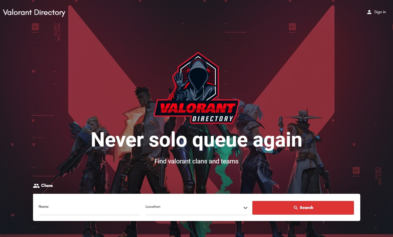valorantdirectory.com homepage