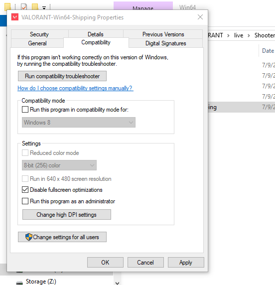 valorant disable fullscreen optimization windows 10
